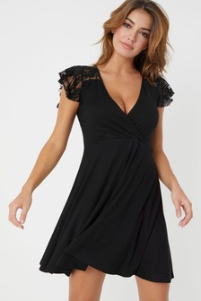 Lipsy Lace Insert Wrap Dress