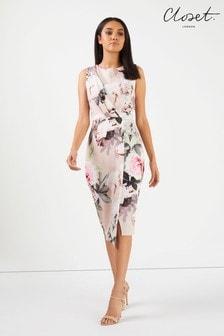 Closet Draped Sleeveless Wrap Floral Dress