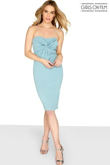 Girls On Film Bow Front Bodycon Dress