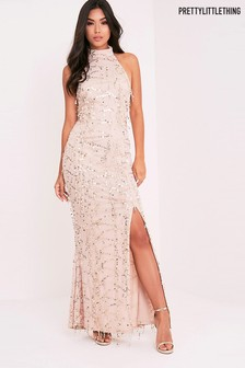 PrettyLittleThing Sequin Fishtail Maxi Dress