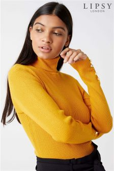 Lipsy Button Cuff Roll Neck Jumper