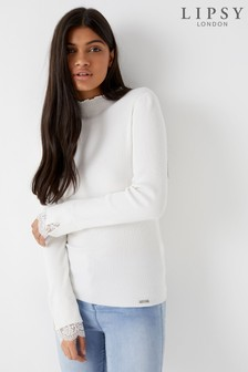 Lipsy Lace Detail Frill Turtle Neck Jumper