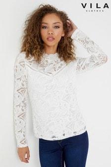 Vila Long Sleeve Lace Top