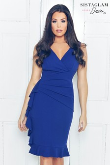 Sistaglam Loves Jessica Ruched Wrap Dress