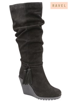 Ravel Ruched Wedge Boots