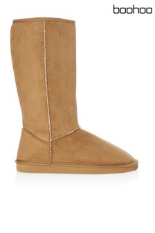 Boohoo Tall Faux Sheepskin Boot