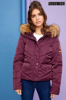 Noisy May Short Faux Fur Padded Jacket