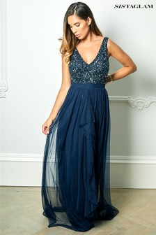 Sistaglam Sequin V neck Maxi Dress