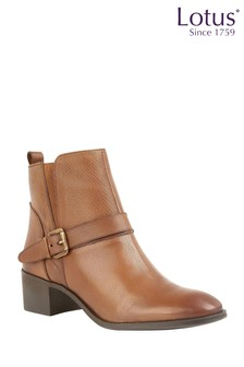 Lotus Leather Ankle Boots