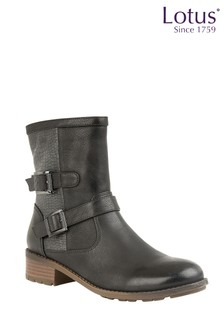 Lotus Black Buckle Boots