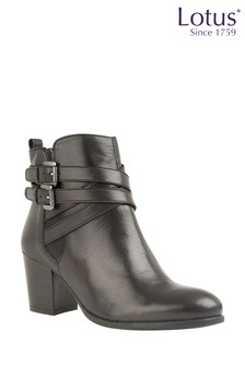 Lotus Black Leather Buckle Boots