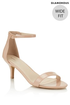 Glamorous Strappy Wide Fit Patent Heels