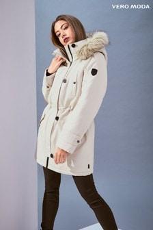Vero Moda Faux Fur Hood Parka Coat