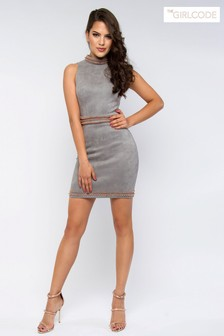 The Girlcode Embellished Suede Bodycon Dress