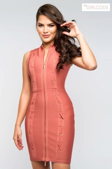 The Girlcode Zip Front Bodycon Dress