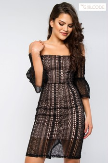 The Girlcode Lace Bardot Bodycon Dress