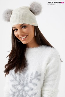 Alice Hannah Double Faux Fur Pom Beanie