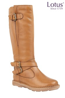 Lotus Buckle Leather Boots