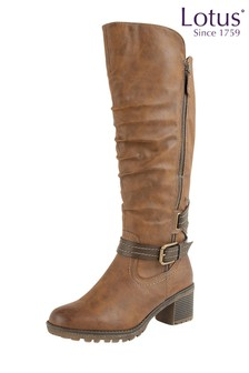 Lotus Buckle Long Boots