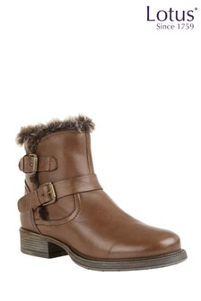 Lotus Leather Buckle Ankle Boots