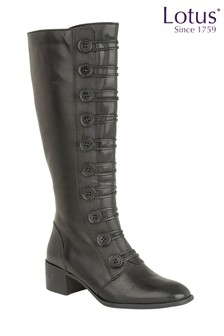 Lotus Spindle Low Block Leather Boots