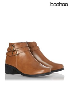 Boohoo Double Buckle Ankle Boots