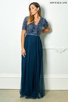 Sistaglam Loves Jessica Rose Sequin Short Sleeve Maxi Dress
