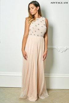 Sistaglam Rose Embellished Cold Shoulder Maxi Dress