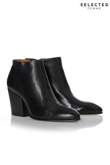 Selected Femme Zip Leather Boots