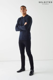 Selected Homme Long Sleeve Ribbed Polo Shirt