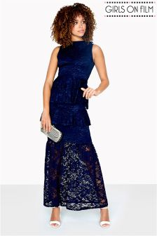 Girls On Film Lace Tiered Maxi Dress