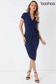Boohoo Wrap Short Sleeve Midi Dress