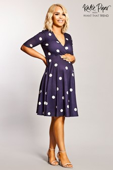 Want That Trend Maternity Polka Dot Wrap Skater Dress