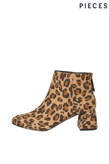 Pieces Leopard Print Ankle Boots