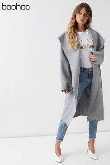 Boohoo Hooded Wool Look Belted Coat