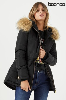 Boohoo Quilted Jacket With Faux Fur Trim