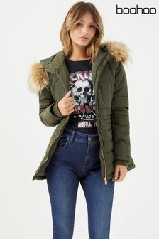 Boohoo Quilted Faux Fur Jacket