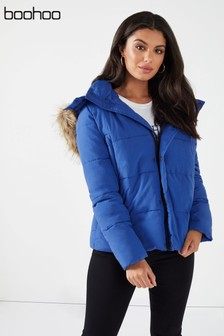 Boohoo Faux Fur Trim Technical Padded Jacket