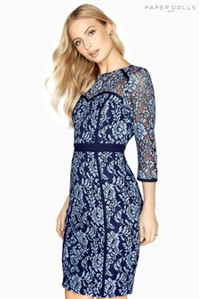 Paper Dolls Lace Overlay Pencil Dress