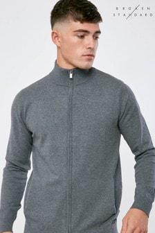 Broken Standard Full Zip Knitted Jumper
