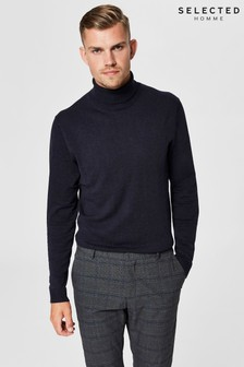 Selected Homme Cotton-Silk Roll Neck Jumper