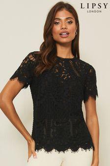 Lipsy Premium Lace Short Sleeve Top