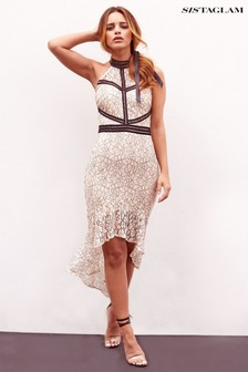 Sistaglam All Over Lace High Low Bodycon Dress