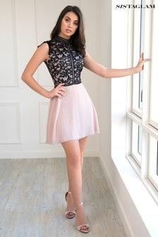 Sistaglam Lace Detail Skater Dress