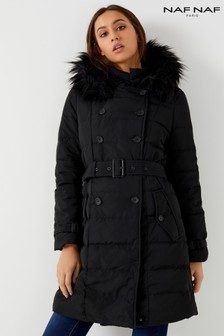 Naf Naf Padded Coat With Fur Trim