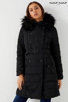 Naf Naf Puffer Faux Fur Trim Coat