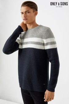 Only & Sons Striped Crew Neck Jumper