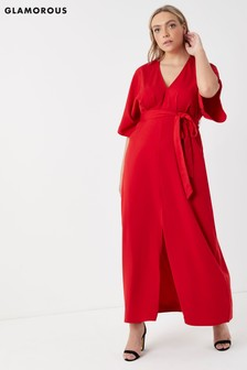Glamorous Curve Maxi Dress With Tie Waist And Front Split