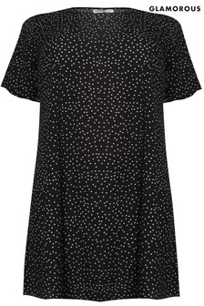 Glamorous Curve Polka Dot T-Shirt Dress