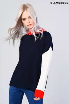 Glamorous Colour Block Knitted Jumper